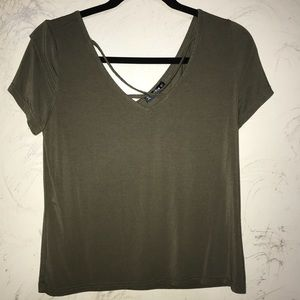Shein T-Shirt with Criss Cross Neckline